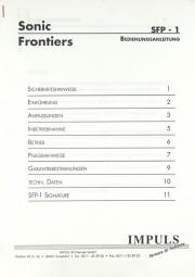 Sonic Frontiers SFP-1 Bedienungsanleitung