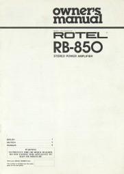 Rotel RB-850 Bedienungsanleitung