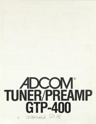 Adcom GTP-400 Bedienungsanleitung