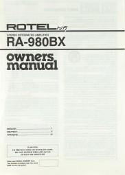 Rotel RA-980 BX Bedienungsanleitung