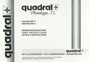 Quadral Phonologue TL Vulkan MK V / Montan MK V Bedienungsanleitung