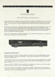 Parasound D/AC-1100 HD Bedienungsanleitung