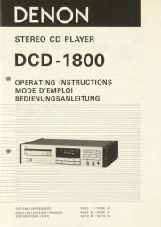 Denon DCD-1800 Bedienungsanleitung