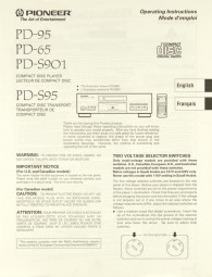 Pioneer PD-95 / PD-65 / PD-S 901 / PD-S 95 Bedienungsanleitung