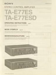Sony TA-E 77 ES / TA-E 77 ESD Bedienungsanleitung