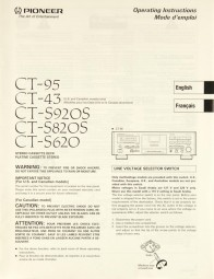 Pioneer CT-95 / CT-43 / CT-S 920 S / CT-S 820 S / CT-S 620 Bedienungsanleitung