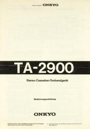 Onkyo TA-2900 Bedienungsanleitung