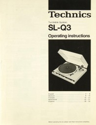Technics SL-Q 3 Bedienungsanleitung
