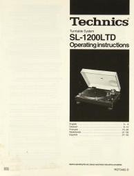 Technics SL-1200 LTD Bedienungsanleitung