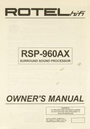 Rotel RSP-960 AX Bedienungsanleitung
