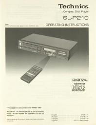 Technics SL-P 210 Bedienungsanleitung
