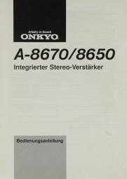 Onkyo A-8670 / 8650 Bedienungsanleitung
