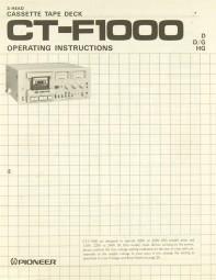 Pioneer CT-F 1000 Bedienungsanleitung