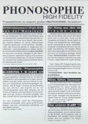 Phonosophie Pressestimmen Prospekt / Katalog