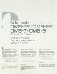 Nakamichi OMS-7E / OMS-5E / OMS-7 / OMS-5 Bedienungsanleitung