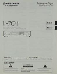 Pioneer F-701 Bedienungsanleitung