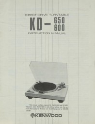 Kenwood KD-650 / 600 Bedienungsanleitung