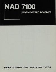 NAD 7100 Bedienungsanleitung