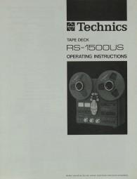 Technics RS-1500 US Bedienungsanleitung