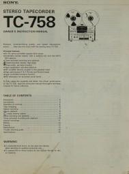 Sony TC-758 Bedienungsanleitung