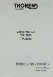 Thorens TIA 2200 / TIA 2300 Bedienungsanleitung