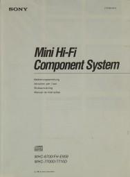 Sony MHC-6700 / FH-E 959 / MHC-7700D / 7710D Bedienungsanleitung
