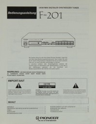 Pioneer F-201 Bedienungsanleitung