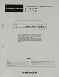 Pioneer F-227 Bedienungsanleitung