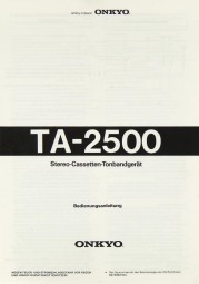 Onkyo TA-2500 Bedienungsanleitung