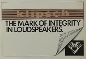 Klipsch The Mark of Integrity in Loudspeakers Prospekt / Katalog