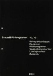 Braun Braun Hifi-Programm 77/78 Prospekt / Katalog