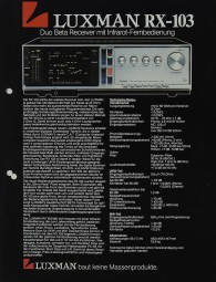 Luxman RX-103 / RX-101 / KX-102 / PX-101 Prospekt / Katalog
