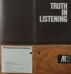 Acoustic Research AR 12 - Truth in Listening Prospekt / Katalog