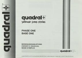 Quadral Phase One / Base One Bedienungsanleitung