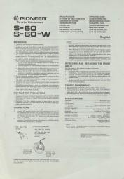 Pioneer S-60 / S-60-W Bedienungsanleitung
