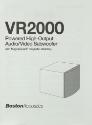Boston Acoustics VR 2000 Bedienungsanleitung
