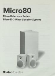 Boston Acoustics Micro 80 Bedienungsanleitung
