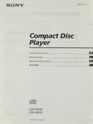 Sony CDP-M 305 / CDP-M 205 Bedienungsanleitung