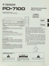 Pioneer PD-7100 Bedienungsanleitung