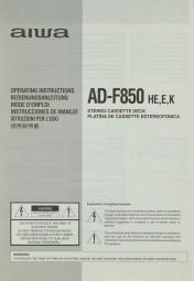 Aiwa AD-F 850 HE, E, K Bedienungsanleitung