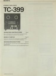 Sony TC-399 Bedienungsanleitung