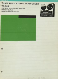 Sony TC-366 Bedienungsanleitung