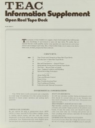 Teac Open Reel Tape Deck Information