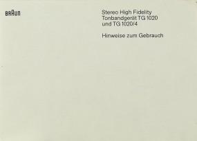 Braun TG 1020 / TG 1020/4 Bedienungsanleitung