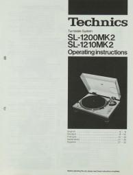 Technics SL-1200 MK 2 / SL-1210 MK 2 Bedienungsanleitung