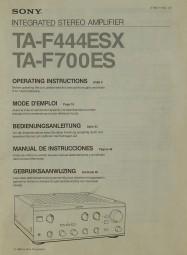 Sony TA-F 444 ESX / TA-F 700 ES Bedienungsanleitung