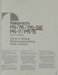 Nakamichi PA-7 E / PA-5 E / PA-7 / PA-5 Bedienungsanleitung