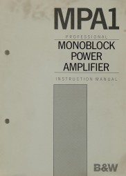 B & W MPA 1 Bedienungsanleitung