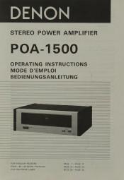 Denon POA-1500 Bedienungsanleitung