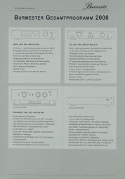 Burmester Gesamrprogramm 2000 Prospekt / Katalog